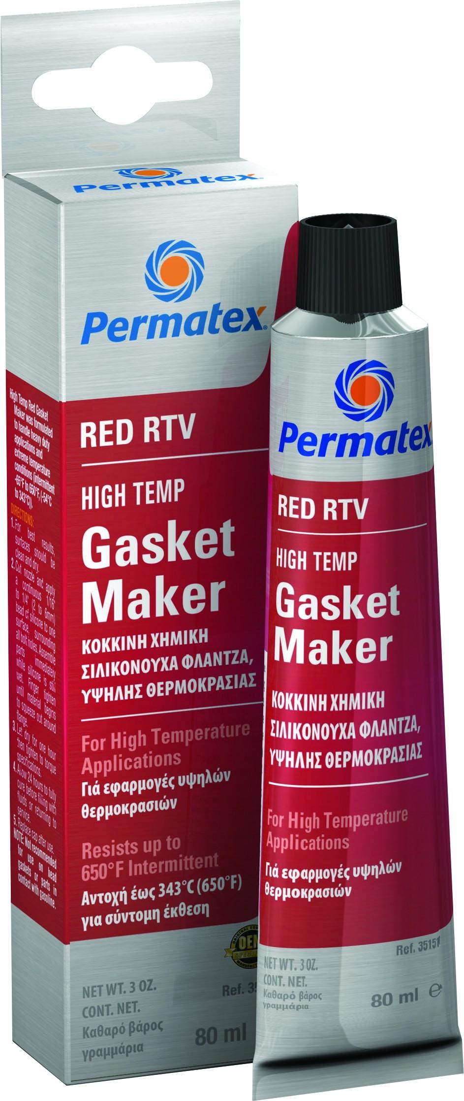 Permatex HI-Temp Red RTV Silicone Gasket 80ml
