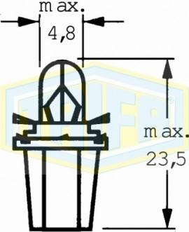 """ΛΑΜΠΑ ΨΕΙΡΑ Χ.Κ. Μ.Ν 12V 1.2W """"BAX10d/B8,5d"""" TRIFA"""